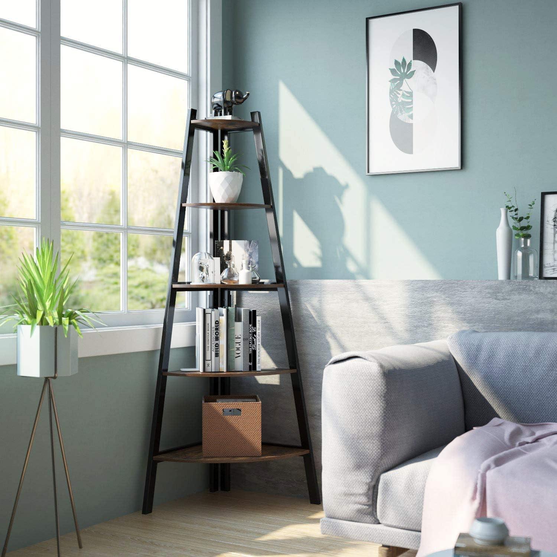 lufsun Direct store Tall Corner Shelf Many popular brands 5 Bookshelf Industr Rustic Tier