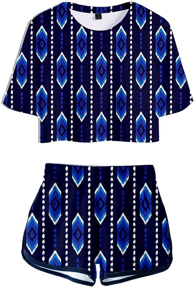 3D Printed Girls Crop Tee Top Short Set Aztec T-shirt Short Tracksuit Outfit