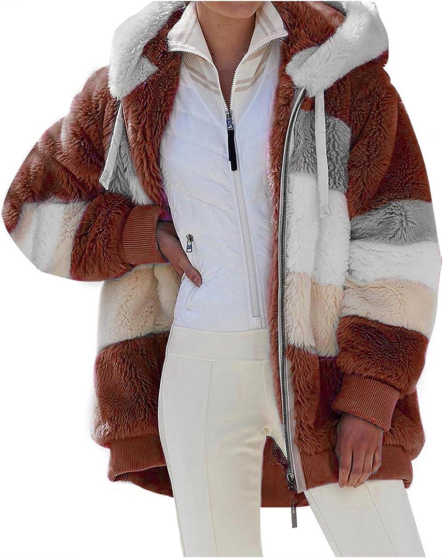 YUNDAN Women Fuzzy Fleece Hoodie Jackets Full Zip Casual Light Winter Warm Oversized Sherpa Stripe Pullover Coat Outwear