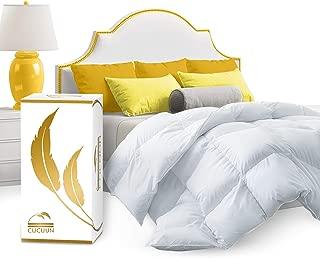 CUCUUN Real Luxury Down Comforter King Cali Size | 100% Egyptian Cotton 1200 TC 750+FP | White Goose Down Comforter | Corner Tabs for King Duvet Insert/Queen Duvet Insert/Twin Duvets
