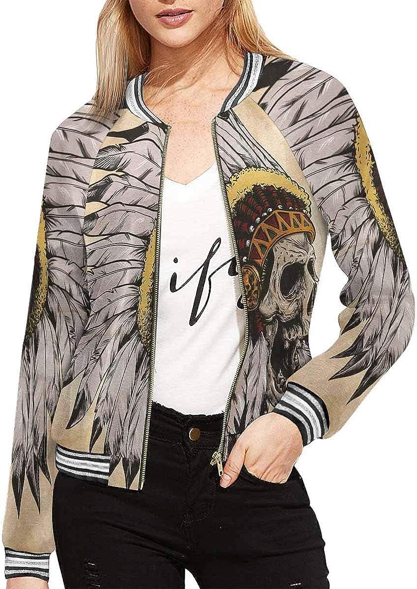 InterestPrint Women's Happy Thanksgiving Vegetable Maple Leaf Long Sleeves Zippered Pockets Jacket