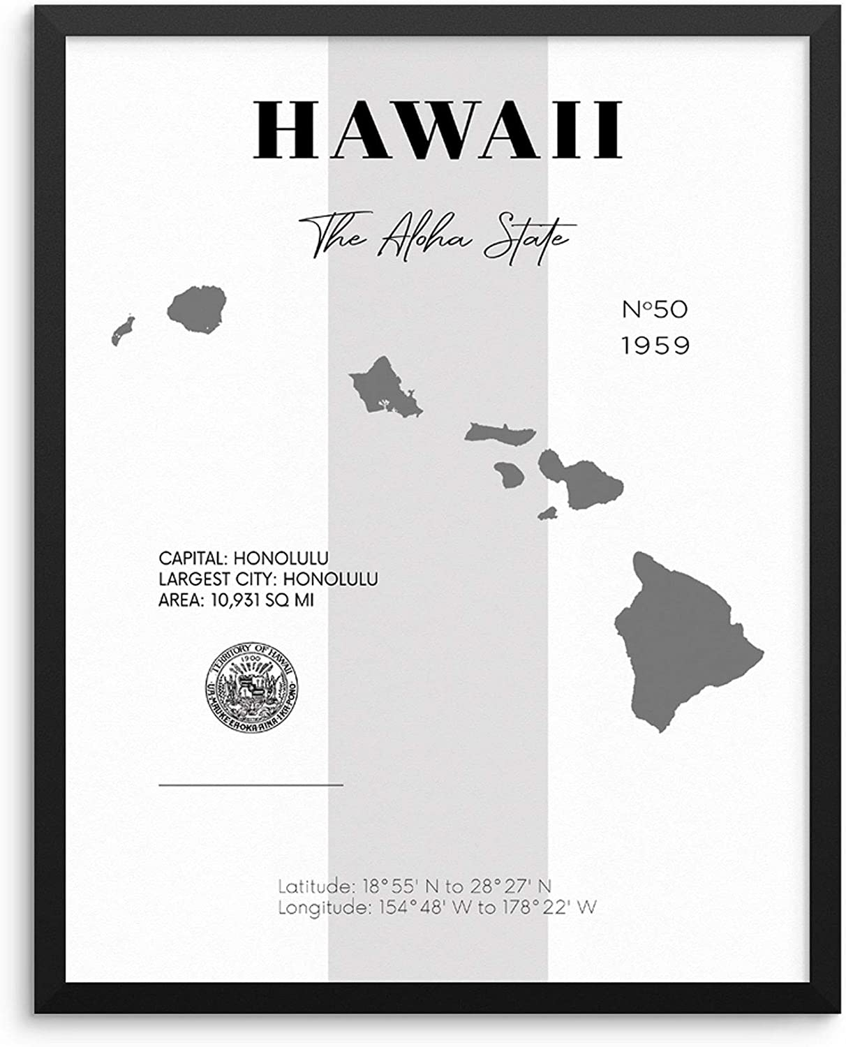 Hawaii State Map Poster With Demographics Minimalist Home Decor Travel Art  Print 20x20 UNFRAMED Trendy Artwork for Bedroom Living Room Entryway Office  ...