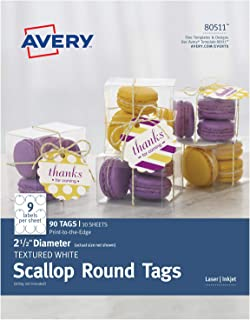 Avery Textured White Scallop Round Paper Tags, 2-1/2-Inch Without Strings, Laser/Inkjet, Print-to-The-Edge, 90 Tags per Pa...