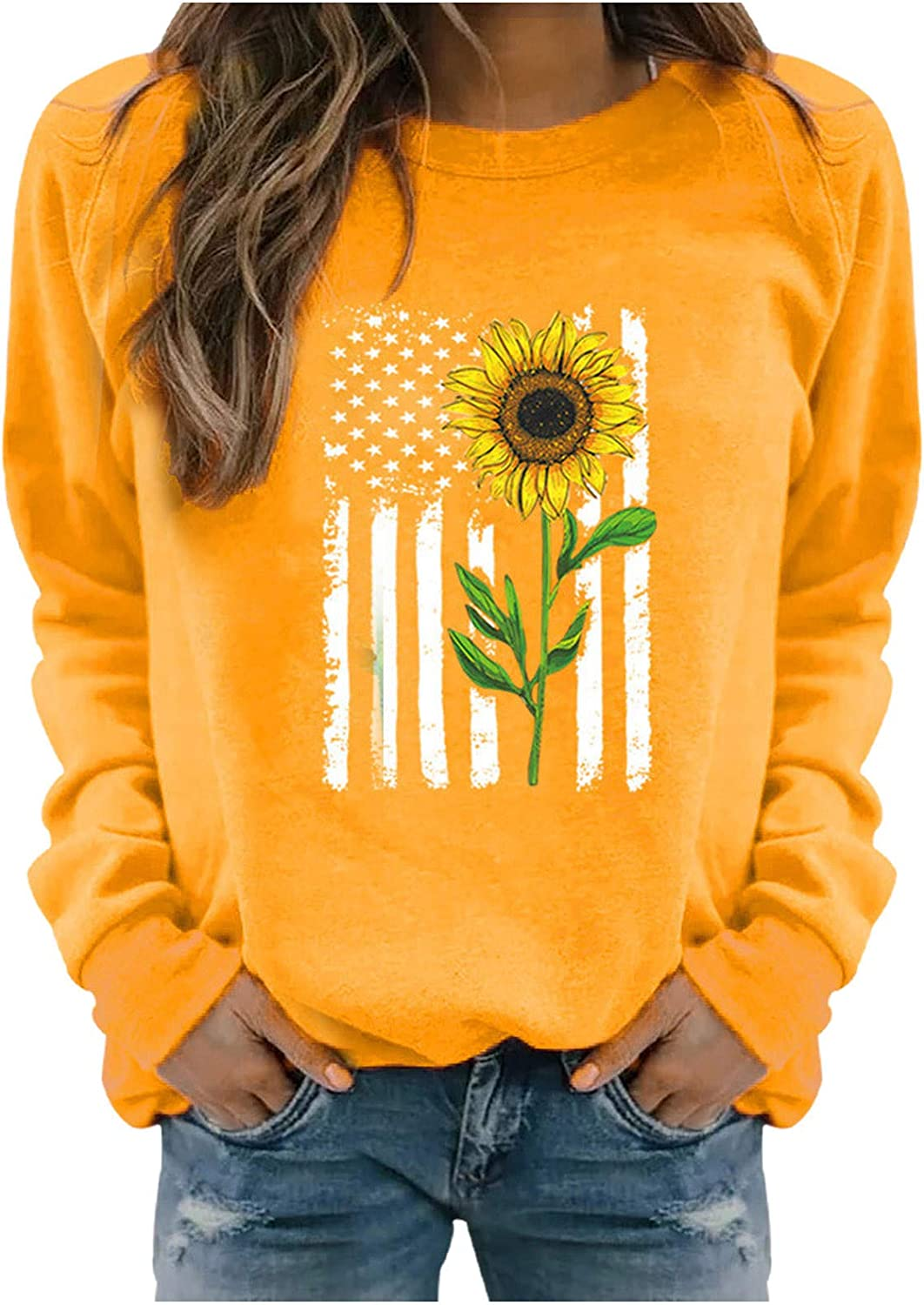 Tupenty Women's Tshirts Graphic Long Sleeve Sunflower Printed Tops and Blouse Casual Loose Fit Tunic Sweatshirts