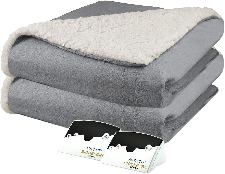 Biddeford 6004-9051136-902 Micro Mink and Sherpa Electric Heated Blanket King Grey