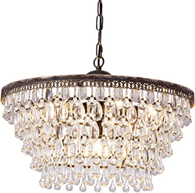 Wellmet Crystal Chandelier, 6-Light 5 Tiers Farmhouse Crystal Light, Adjustable Hanging Bronze Ceiling Lighting Fixture, Mode