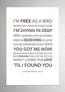 Liam Payne & Rita Ora (vijftig tinten vrij) - Voor u - Funky Lyric Art Print - A4 formaat