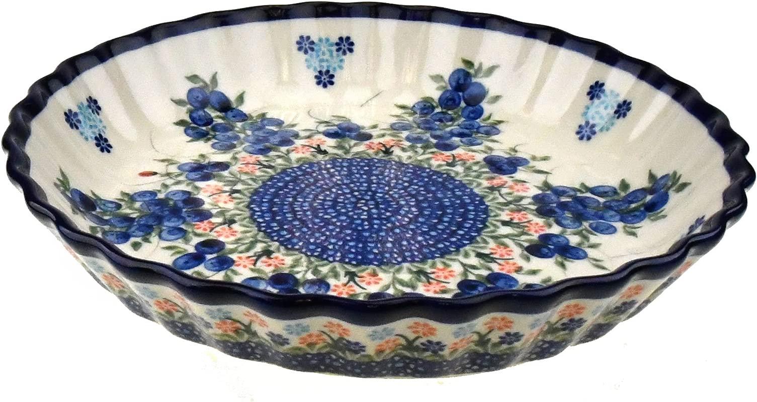 Ceramika Boleslawiecka Kalich Original Polish Hand Made Pottery 10 Pie Baking Dish Blueberries