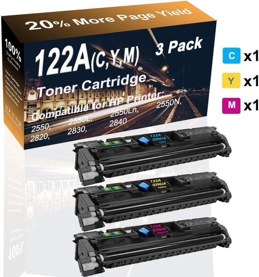 3-Pack (C+Y+M) Compatible 2550/2820/ 2830 Printer Cartridge (High Capacity) Replacement for HP 122A (Q3691A Q3962A Q3963A) Printer Toner Cartridge