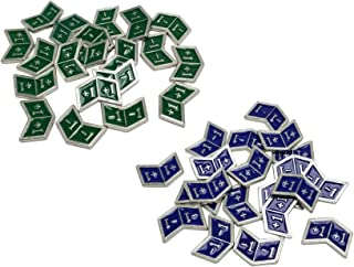 Set of 40 Metal Buff Counters, Token, Creature Stats or Loyalty, Double Sided +1/+1 and -1/-1 for CCG, MTG Magic: The Gathering, 20 Blue and 20 Green Enamel (Simic)