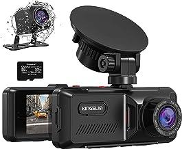 Dash Cam, Kingslim GPS Telecamera per Auto con Dppia Lente, 32GB Scheda Inclusa, 170° FOV Visione Notturna con IPS FHD Screen, Registrazione in Loop e Rilevatore di Movimento Quando Parcheggio - D1