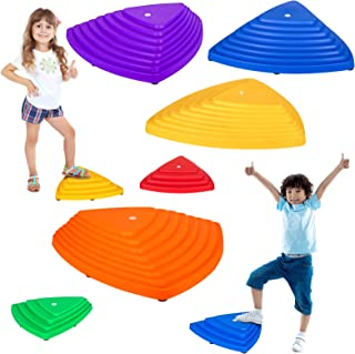 IROO Balance Stepping Stones Set for Kids Play Indoor and Outdoor, Non-Slip Colorful Stones Toys for Coordination and Gross Motor Development, Unique Birthday