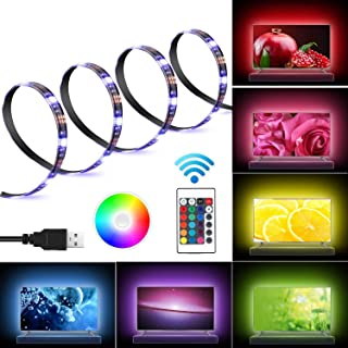 Kohree LED Light Strip 2M/6.56ft for 40-60in USB TV Backlight Bias Lighting Kits with Remote RGB 16 Colors for HDTV Neon Light TV Desktop PC Laptop, 3 Strips in 1 Set