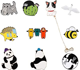 10 PCS Animal Enamel Pin Set   Cute Animal Daily Life Brooch Clothes Accessories Gifts