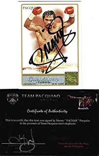 Manny Pacquiao Allen & Ginter Boxing #262 Signed Auto Card Team Pacman COA - Autographed Boxing Cards