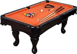 Harvil 84 Inches Black Billiard Pool Table with Complete Accessories - Orange Felt