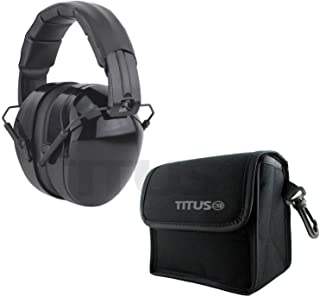 Titus Triple Black B4 Earmuffs - 26/32 NRR Noise Reduction Hearing Protection - Silence Any Environment (Original, With Pouch)