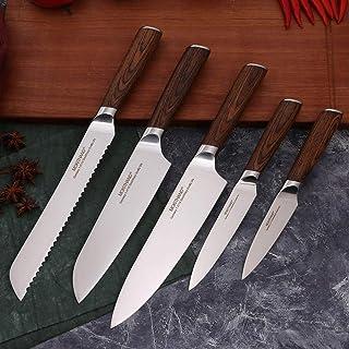 GZSC Cuchillo de Cocina Japonesa Cuchillos del Cocinero Profesional Determinado Alemania 1.4116 Vegetal Acero de Alto Carbono Santoku Cuchillo de Pan for cocinar (Color : 5pcs Each Set)