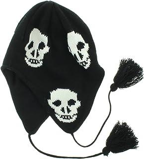 JFH Group Skulls Design Winter Ear Flap Hat (One Size)-Black