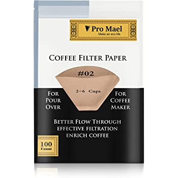#2 Cone Coffee Filters Paper Disposable for Pour Over and Drip Coffee Maker 100 Count, Better Filtration No Blowouts Made from Unbleached Imported Japanese Filter Paper Natural Brown