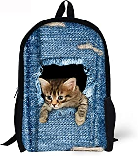 Cute Cat Dog Animal Blue School Backpack For Boys Girls School Book Bags