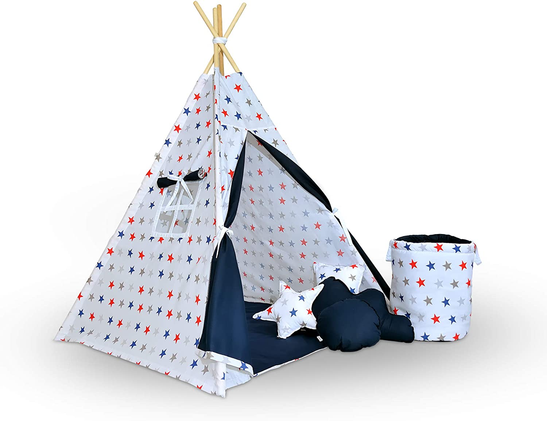 Evama Exklusives Tipi -Wigwam und Kinderzelt-Spielzelt im Set (7tlg,) Indianerzelt für Drinnen und drauen, Handarbeit