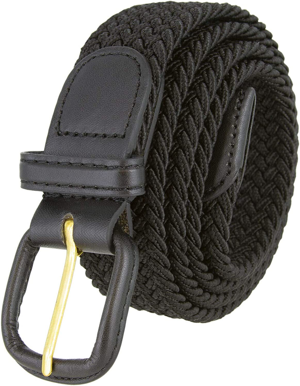 Belts.com Leather Covered Buckle Woven Elastic Stretch Belt