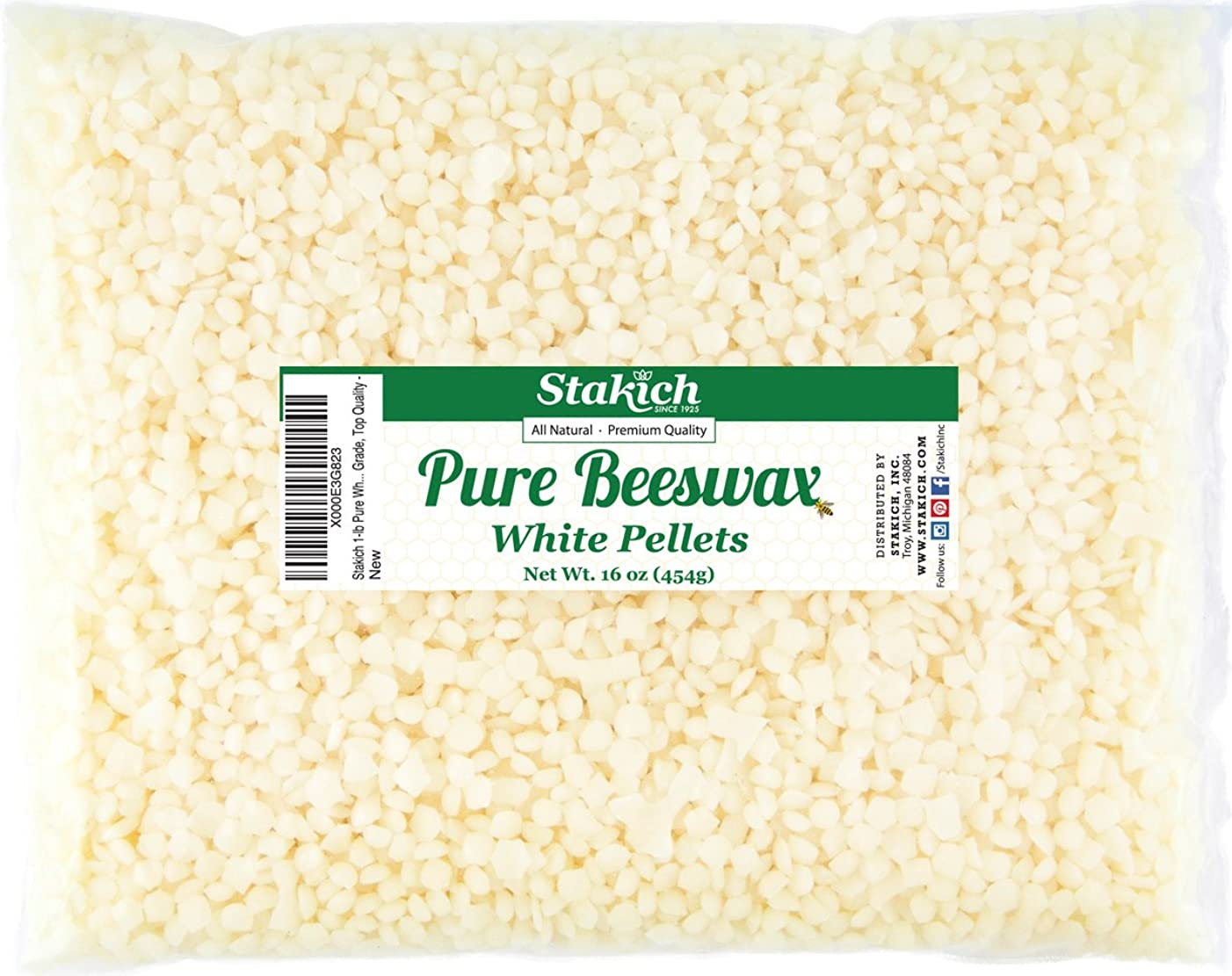 Stakich Pure White Beeswax Pellets - 100% Natural, Cosmetic Grade, Premium Quality - 5 lb (in 1 lb Bags)
