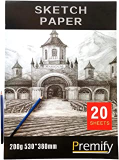 """Premify Large Sketch Paper Pad 200g, 20 Sheets (15"""" X 21inch) Artist Sketchbook with Drawing Papers Acid Free, Professiona..."""