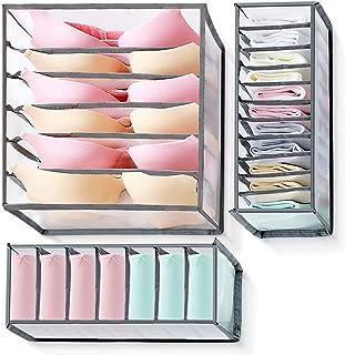 Tiroir organisateur 3 pièces pour sous-vêtements, organisateur de garde-robe à boîte pliante, avec compartiments 6/7/11, p...