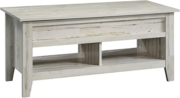 Sauder 424120 Dakota Pass Lift Top Coffee Table White Plank Finish