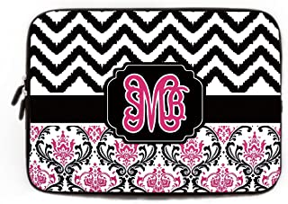 Monogrammed Initials on Computer Sleeve 17 17.3 Inch Personalized Pink Flower and Black Chevron Netbook Tablet Laptop Case Soft Neoprene Sleeve Case Cover for SONY VAIO E17 / 17.3