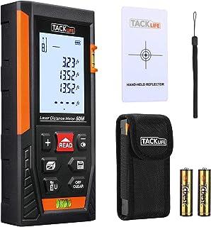 comprar comparacion Telémetro láser, Tacklife HD 50m con rango distancia de medida 0,05~50m /±1,5mm, pantalla retroiluminada LCD con 2burbujas...