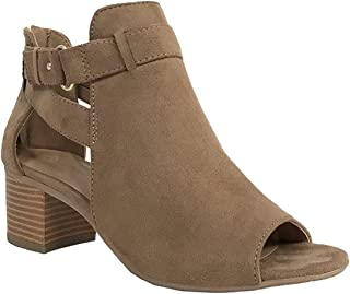 City Classified Invest Women's Cutout Side Strap Mid Block Chunky Heel Fashion Ankle Bootie Boots