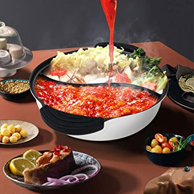 Hot Pot with Divider Non-Stick Casserole Shabu Shabu Pot for Induction Cooktop Two-flavor Cookware 10.7'' for 2-3 Person