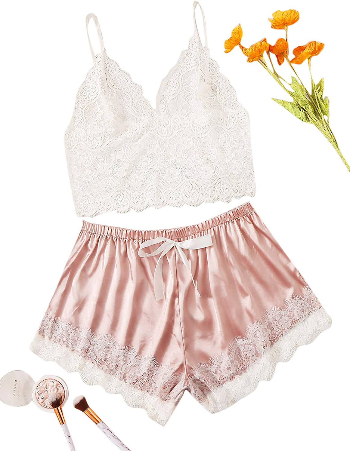 Milumia Women's Plus Size Lingerie Set Lace Sheer Cami Top with Shorts Sleepwear