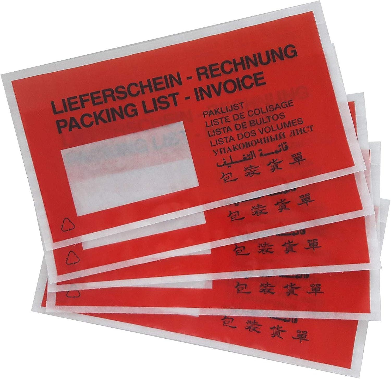 5000 rote Lieferscheintaschen   Dokumententaschen im DIN-lang-Format DIN-lang-Format DIN-lang-Format (240 x 130 mm)   Begleitpapiertasche bedruckt und selbstklebend B07JPLNHR5 | Bestellungen Sind Willkommen  566c52