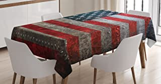Ambesonne American Flag Tablecloth, Royalty Flag Textured US Backdrop on Damaged Board Plate Design Artwork Print, Dining Room Kitchen Rectangular Table Cover, 60