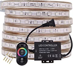 XUNATA 50ft LED RGB Rope Strip Light, AC 110-120V 60 LEDs/M SMD 5050 Touch Remote Control Multi-Color Changing Waterproof Flexible Strip Lights for Indoor Outdoor Christmas Decoration