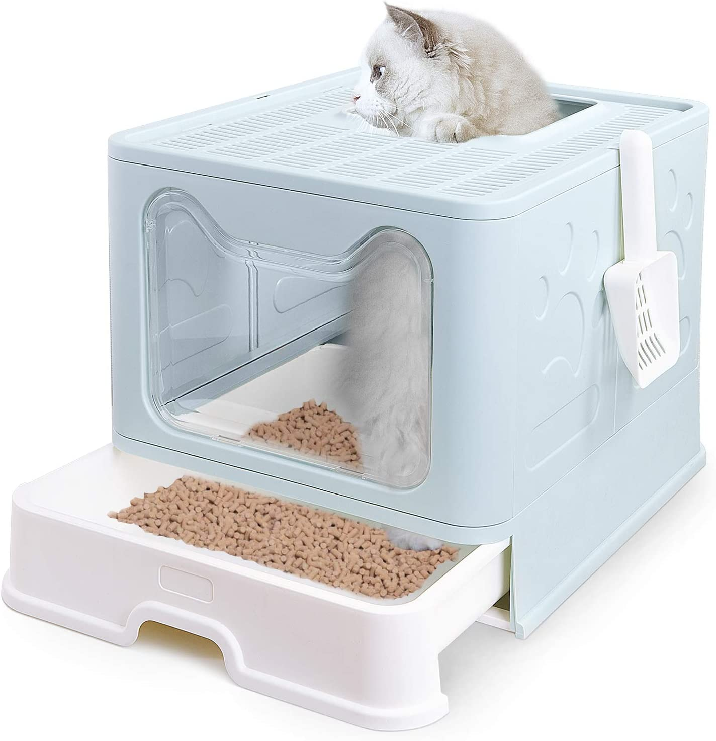 Petphabet Genuine Free New Orleans Mall Shipping Cat Litter Box Square Foldable Litte Hooded Jumbo