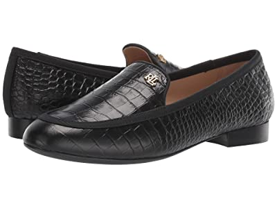 LAUREN Ralph Lauren Clair (Black/Black Soft Mini Croc/Grosgrain) Women
