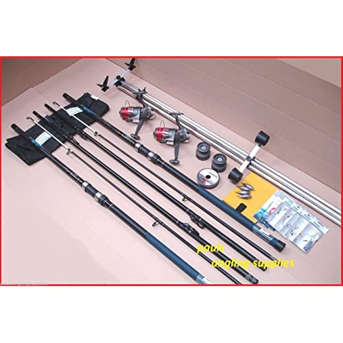 Shakespeare Sea Fishing 13 ft Kit 2 Rods 2 Reels Tripod & Tackle Beach, Beachcaster Beachcasting