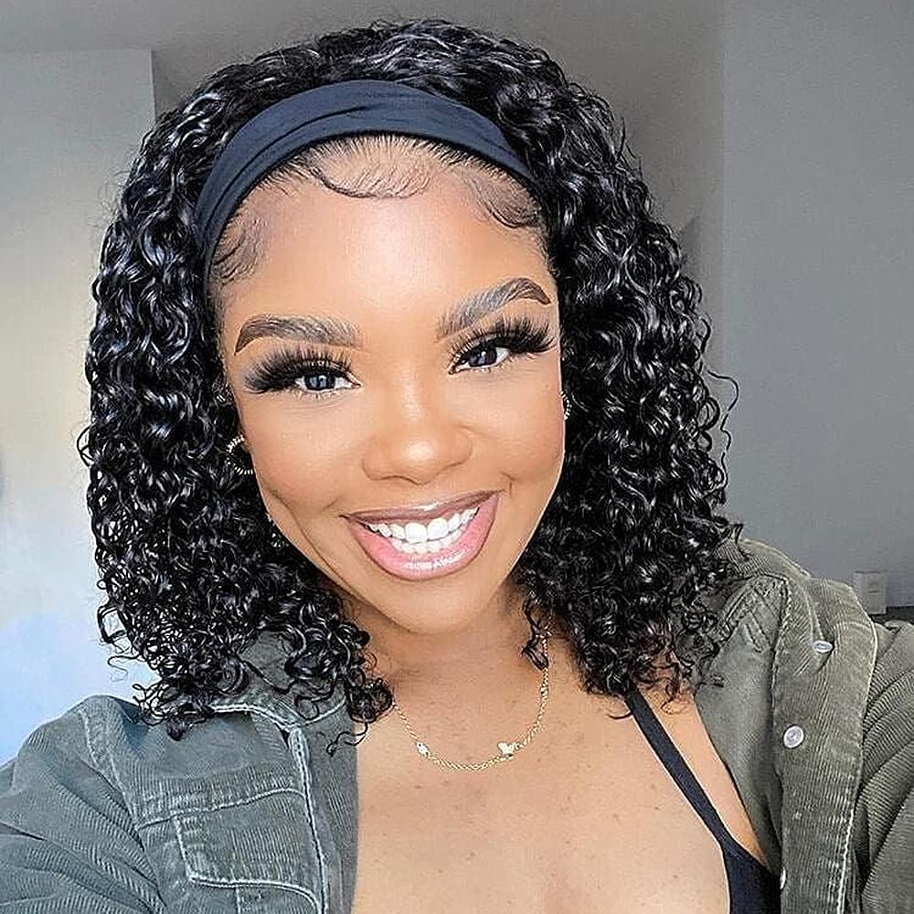 10 Colorado Springs Mall Inch Headband Wigs Curly Human for Glueless Women Hair Max 84% OFF Black