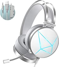 PeohZarr Gaming Headset PS4 Headset Xbox One Headset with Surround Sound White PC Gaming Headset with Clear Mic & Large Ea...