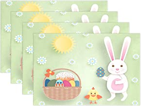 Chen Miranda Easter Bunnies Eggs Polyester Placemats of Home Decor for Dining Table Party Kitchen Table Everyday Use Meal Pad Cup Mat 12x18 Set of 4