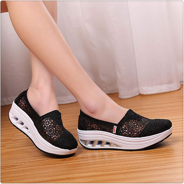 Dmoshibei Casual Cutouts Lace Canvas shoes Hollow Floral Platform shoes Wedge Sneakers