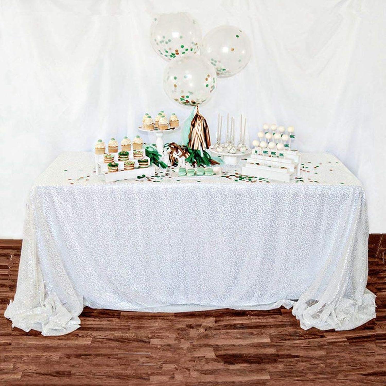 Ahorre 35% - 70% de descuento ShinyBeauty CT0627 - Mantel de de de Lentejuelas (228 x 335 cm), Color blancoo  muchas concesiones