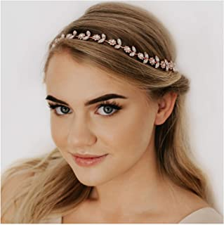 SWEETV Rhinestone Bridal Headpiece Crystal Wedding Headband Rose Gold Hair Accessories for Bride Women