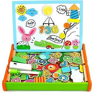 Juguetes Montessori Puzzles Infantiles Madera con Alfabeto Magnetico,Pizarra Magnetica Doble Cara Juegos Educativos Regalo...