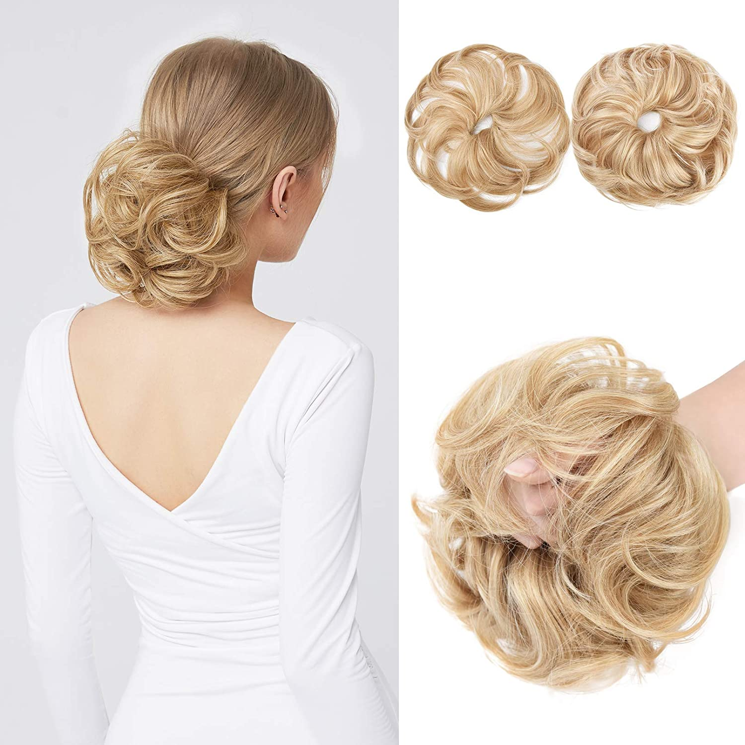 REECHO Translated unisex 2PCS Long Tousled Updo Hair Bun Extensions Messy